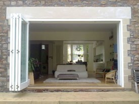 Hardwood folding sliding doors in Yorkshire