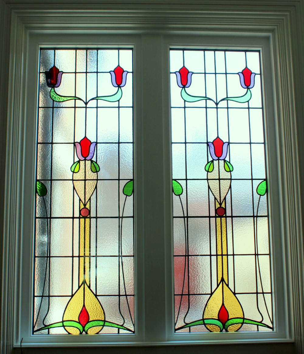 encapsulated stained glass timber window