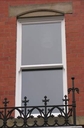 External view of double glazed timber sash window